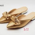 รองเท้าคัทชู เปิดส้น ทรงหน้า V แต่งโบว์สวยหวาน ส้นแต่งมุกสวยหรู หนังนิ่ม ทรงสวย สูงประมาณ 1 นิ้ว ใส่สบาย แมทสวยได้ทุกชุด
