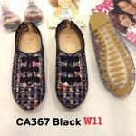รองเท้าคัทชู ส้นแบน สไตล์ผ้าใบวินเทจ หนังลายดอกไม้แต่งลายปักเชือกยางยือด้านหน้าสวยน่ารัก ใส่ง่าย หนังนิ่ม ทรงสวย พื้นยางนิ่มยืดหยุ่น ใส่สบาย แมทสวยได้ทุกชุด (CA367)