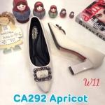 รองเท้าคัทชู ส้นสูง แต่งอะไหล่สวยหรู ส้นเหลี่ยมเก๋ดูดี หนังนิ่ม ทรงสวย สูงประมาณ 3 นิ้ว ใส่สบาย แมทสวยได้ทุกชุด (CA292)