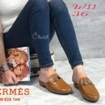 รองเท้าคัทชู เปิดส้น แต่งอะไหล่สไตล์แอร์เมสสวยเก๋ หนังนิ่ม ทรงสวย แมทสวยได้ทุกชุด (508-828)