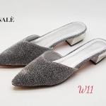 รองเท้าคัทชู เปิดส้น แต่งกลิสเตอร์สวยหรู ส้นเหลียมเคลือบเงาสุดเก๋ หนังนิ่ม ทรงสวย สูงประมาณ 1.5 นิ้ว ใส่สบาย แมทสวยได้ทุกชุด (FH-828)