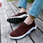 รองเท้าผ้าใบแฟชั่น ลายสวยเรียบเก๋ แบบไร้เชือกใส่ง่าย ผ้ายืดหนานุ่ม วัสดุอย่างดี ใส่เที่ยว ออกกำลังกาย ใส่สบาย แมทสวยได้ทุกชุด (H-2)