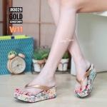 รองเท้าแฟชั่น ส้นมัฟฟิน แบบหนีบ แต่งลายดอกไม้สวยน่ารัก หนังนิ่ม ทรงสวย ใส่สบาย แมทสวยได้ทุกชุด (JK8029)