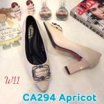 รองเท้าคัทชู ส้นสูง แต่งอะไหล่สวยหรู ส้นเหลี่ยมเก๋ดูดี หนังนิ่ม ทรงสวย สูงประมาณ 3 นิ้ว ใส่สบาย แมทสวยได้ทุกชุด (CA294)