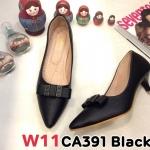รองเท้าคัทชู ส้นเตี้ย แต่งอะไหล่สวยเรียบเก๋ หนังนิ่ม ทรงสวย ส้นสูงประมาณ 2 นิ้ว ใส่สบาย แมทสวยได้ทุกชุด (CA391)