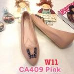 รองเท้าคัทชู ส้นเตารีด แต่งอะไหล่คลิสตัลเพชรสวยหรู หนังนิ่ม พื้นนิ่ม ทรงสวย ส้นสูงประมาณ 2 นิ้ว ใส่สบาย แมทสวยได้ทุกชุด (CA409)