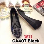 รองเท้าคัทชู ส้นเตารีด แต่งอะไหล่สวยหรู หนังนิ่ม พื้นนิ่ม ทรงสวย ส้นสูงประมาณ 2 นิ้ว ใส่สบาย แมทสวยได้ทุกชุด (CA407)