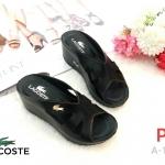 รองเท้าแฟชั่น ส้นเตารีด แบบหนีบ แต่งอะไหล่จรเข้สไตล์ lacoste หนังนิ่ม ทรงสวยเก็บหน้าเท้า สูงประมาณ 2.5 นิ้ว ใส่สบาย แมทสวยได้ทุกชุด (A-146)