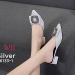รองเท้าคัทชู เปิดส้น หนัังกลิสเตอร์แต่งอะไหล่สวยหรู หนังนิ่ม ทรงสวย ใส่สบาย ส้นสูงประมาณ 1 นิ้ว แมทสวยได้ทุกชุด (6133-1)