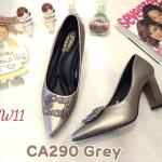 รองเท้าคัทชู ส้นสูง แต่งอะไหล่สวยหรู ส้นเหลี่ยมเก๋ดูดี หนังนิ่ม ทรงสวย สูงประมาณ 3 นิ้ว ใส่สบาย แมทสวยได้ทุกชุด (CA290)