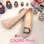 รองเท้าคัทชุ ส้นเตารีด แต่งอะไหล่เข็มขัดเพชรสวยหรู หนังนิ่ม ทรงสวย สูงประมาณ 2 นิ้ว ใส่สบาย แมทสวยได้ทุกชุด (CA280)