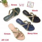 รองเท้าแตะแฟชั่น แบบสวม แต่งอะไหล่สวยหรู หนังนิ่ม ทรงสวย ใส่สบาย แมทสวยได้ทุกชุด (AT-115)