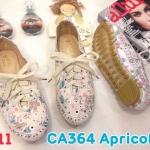 รองเท้าคัทชู ส้นแบน สไตล์ผ้าใบวินเทจ หนังลายดอกไม้แต่งลายปักผูกเชือกด้านหน้าสวยน่ารัก หนังนิ่ม ทรงสวย พื้นยางนิ่มยืดหยุ่น ใส่สบาย แมทสวยได้ทุกชุด (CA364)
