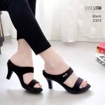 รองเท้าแฟชั่น ส้นสูง แบบสวม ดีไซน์เรียบเก๋ หนังนิ่ม พื้นนิ่ม ทรงสวย สูง 3 นิ้ว ใส่สบาย แมทสวยได้ทุกชุด (2323)