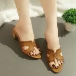 รองเท้าแฟชั่น ส้นสูง แบบสวม หน้า H แต่งขอบฉลุสวยเก๋สไตล์แอร์เมส หนังนิ่ม ทรงสวย ใส่สบาย ส้นสูงประมาณ 2 นิ้ว แมทสวยได้ทุกชุด (J331)