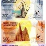 ธนบัตรประเทศ มาดากัสการ์ เซ็ท 4 ใบ ชนิดราคา 100, 200, 500 และ 1,000 ARIARY (อเรียรี) รุ่นปี พ.ศ.2560 (ค.ศ.2017)