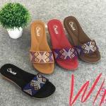 รองเท้าแตะแฟชั่น แบบสวม แต่งคลิสตัลสลับสีสวยหรู หนังนิ่ม พื้นนิ่ม งานสวย ใส่สบาย แมทสวยได้ทุกชุด (318-42)