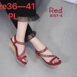 รองเท้าแฟชั่น ส้นเตารีด แบบสวม รัดส้น สายคาดเฉียงแต่งอะไหล่คริสตัลหลากสีสวยหรู หนังนิ่ม รัดส้นยางยืดนิ่ม ทรงสวย สูงประมาณ 2 นิ้ว ใส่สบาย แมทสวยได้ทุกชุด (B157-4)