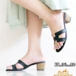 รองเท้าแฟชั่น ส้นสูง แบบสวม คาดหน้า H สไตล์แอร์เมสสวยเรียบเก๋ ส้นแต่งลายไม้ หนังนิ่ม ทรงสวย ส้นสูงประมาณ 2 นิ้ว ใส่สบาย แมทสวยได้ทุกชุด (GS05)