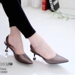 รองเท้าคัทชู ส้นเตี้ย รััดส้น สไตล์ ZARA หนัง pu รุ่นใหม่ดูแพง หนังเงาสวยนิ่ม ส้นหมุดทองสวยเก๋ ทรงสวย สูงประมาณ 1.5 นิ้ว ใส่สบาย แมทสวยได้ทุกชุด (10202)