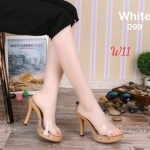 รองเท้าแฟชั่น ส้นสูง แบบสวม แต่งคาดหน้าพลาสติกใสนิ่ม ส้นสีไม้สวยเรียบหรู หนังนิ่ม ทรงสวย สูงประมาณ 4 นิ้ว ใส่สบาย แมทสวยได้ทุกชุด (099)