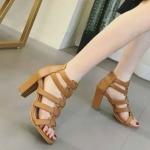 รองเท้าแฟชั่น ส้นสูง รัดข้อ ดีไซน์หนังแถบสานคาดหน้าเท้าสวยเก๋ สไตล์ ZARA หนังนิ่ม ทรงสวย สูงประมาณ 4 นิ้ว ซิปหลังใส่ง่าย ใส่สบาย แมทสวยได้ทุกชุด (C3-2)