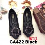 รองเท้าคัทชู ส้นแบน แต่งโบว์ประดับอะไหล่คลิสตัลเพชรสวยหรู หนังนิ่ม พื้นนิ่ม ทรงสวย ใส่สบาย แมทสวยได้ทุกชุด (CA422)
