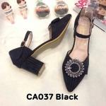 รองเท้าคัทชูุ ส้นเตี้ย รัดส้น แต่งอะไหล่สวยหรู หนังนิ่ม ทรงสวย ส้นตัดสูงประมาณ 2.5 นิ้ว ใส่สบาย แมทสวยได้ทุกชุด (CA037)