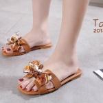 รองเท้าแตะแฟชั่น แบบสวม คาดหน้า H แต่งผูกโบว์ลายเก๋สไตล์แอร์เมส หนังนิ่ม ทรงสวย ใส่สบาย แมทสวยได้ทุกชุด (2018-1)