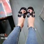 รองเท้าแตะแฟชั่น แบบสวม คาดหน้า H สไตล์แอร์เมส แต่งเข็มขัดข้างสวยเก๋ไฮโซ หนังนิ่ม ทรงสวย ใส่สบาย แมทสวยได้ทุกชุด