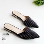 รองเท้าคัทชู เปิดส้น แต่งเพชรรอบบอดี้ ทรงเรียวสวย ส้นทองสวยหรู หนังนิ่ม ทรงสวย สูงประมาณ 1 นิ้ว ใส่สบาย แมทสวยได้ทุกชุด (10204)