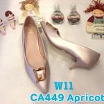 รองเท้าคัทชู ส้นเตี้ย แต่งอะไหล่สวยเก๋ หนังนิ่ม ทรงสวย ส้นสูงประมาณ 2 นิ้ว ใส่สบาย แมทสวยได้ทุกชุด (CA449)