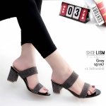 รองเท้าแฟชั่น ส้นสูง แบบสวม คาด 2 ตอนเก็บหน้าเท้าให้ดูเรียว หนังแคนวาสประกายวิ้ง สวยหรู หนังนิ่ม ทรงสวย สูงประมาณ 2.5 นิ้ว ใส่สบาย แมทสวยได้ทุกชุด (10197)