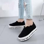 รองเท้าผ้าใบแฟชั่น ส้นมัฟฟิน แต่งขอบลุ้ยสวยเก๋ ส้นแต่งลายสไตล์เกาหลีเก๋มาก ใส่สบายแมทสวยได้ทุกชุด