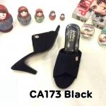 รองเท้าแฟชั่น ส้นสูง แบบสวม แต่งอะไหล่สวยเรียบหรู หนังนิ่ม ทรงสวย ส้นสูงประมาณ 3 นิ้ว ใส่สบาย แมทสวยได้ทุกชุด (CA173)