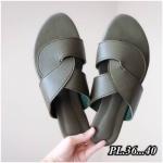 รองเท้าแตะแฟชั่น แบบหนีบ คาดหน้าไขว้สไตล์แอร์เมส รุ่นใหม่ สีพาสเทลสวยเก๋ไฮโซ หนังนิ่ม ทรงสวย ใส่สบาย แมทสวยได้ทุกชุด