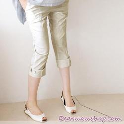 กางเกงคนท้อง 5 ส่วน ปลายขาพับติดกระดุม สีครีม
