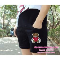 กางเกงคลุมท้องขาสั้นผ้ายืดสีดำ ปักแปะรปหมี