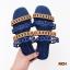 รองเท้าแตะแฟชั่น แบบสวม หนังฉลุลายสีทูโทนสุุดเก๋สไตล์แอร์เมส หนังนิ่ม ทรงสวย ใส่สบาย แมทสวยได้ทุกชุด (mr34) thumbnail 1