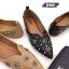 รองเท้าคัทชู ส้นแบน ทรงหัวแหลม หน้า V แต่งอะไหล่ดอกไม้ หมุดเพชรสวยหรู หนังนิ่ม ทรงสวย ใส่สบาย แมทสวยได้ทุกชุด (630-1) thumbnail 3