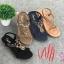 รองเท้าแตะแฟชั่น แบบสวม รัดส้น แต่งลูกปัดสไตล์โบฮีเมียนสวยเก๋ รัดส้นยางยืดนิ่ม หนังนิ่ม พื้นนิ่ม งานสวย ใส่สบาย แมทสวยได้ทุกชุด (318-15) thumbnail 1
