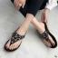 รองเท้าแตะแฟชั่น แบบหนีบ แต่งอะไหล่ดอกไม้เพชรสวยหวาน หนังนิ่ม พื้นนิ่ม ทรงสวย ใส่สบาย แมทสวยได้ทุกชุด (9018-10) thumbnail 1