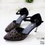 รองเท้าคัทชู ส้นเตี้ย รัดส้น แต่งลายฉลุประดับคลิสตัลสวยหรู สายรัดข้อ ตะขอเกี่ยวปรับได้ หนังนิ่ม ทรงสวย สูงประมาณ 2.5 นิ้ว ใส่สบาย แมทสวยได้ทุกชุด (10189) thumbnail 4