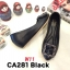 รองเท้าคัทชู ส้นเตารีด แต่งอะไหล่สวยหรู หนังนิ่ม ทรงสวย สูงประมาณ 2 นิ้ว ใส่สบาย แมทสวยได้ทุกชุด (CA281) thumbnail 1