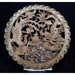 แผ่นไม้แกะศิลปะจีน-หงส์ มังกร (ขอบหยัก) 26.5 cm /T1522