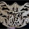 ไม้แกะศิลปะจีน-ตัวฮก ค้างคาว ปลาคราฟ 26.5cm
