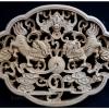 แผ่นไม้แกะศิลปะจีน - สิงโตจีนคู่ 28x21cm