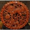 แผ่นไม้แกะศิลปะจีน-ลายสิงโตแม่ลูก 26.5 cm.