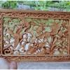 แผ่นไม้แกะสลักศิลปะจีน-นกกับดอกไม้ แผ่นละ