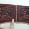 แผ่นไม้แกะศิลปะจีนเก่า เป็ดแมนดารินคู่
